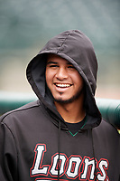 Great Lakes Loons catcher Keibert Ruiz (31) in the dugout during a game against the Burlington Bees on May 4, 2017 at Dow Diamond in Midland, Michigan.  Great Lakes defeated Burlington 2-1.  (Mike Janes/Four Seam Images)