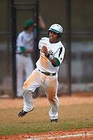 Community College of Rhode Island Knights third baseman Edwin Pacific (4) during a game against the Genesee Community College Cougars on March 20, 2016 at Lake Myrtle Park in Auburndale, Florida.  CCRI defeated Genesee 23-4.  (Mike Janes/Four Seam Images)