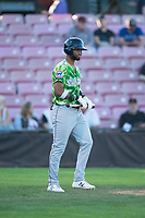 Eugene Emeralds right fielder Jonathan Sierra (22) walks towards the batter's box during a Northwest League game against the Salem-Keizer Volcanoes at Volcanoes Stadium on August 31, 2018 in Keizer, Oregon. The Eugene Emeralds defeated the Salem-Keizer Volcanoes by a score of 7-3. (Zachary Lucy/Four Seam Images)