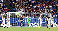 FRISCO, TX - MARCH 11: Adrianna Franch #21 of the United States calms down the team as she prepares to clear the ball during a game between Japan and USWNT at Toyota Stadium on March 11, 2020 in Frisco, Texas.