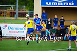 Dingle Bay Rovers Cian Wright gets to the aerial ball ahead of John Ward of Classic in the Denny KDL Challenge Cup