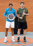 British player Andy Murray winner and Spanish tennis player Rafael Nadal, finalist, after Madrid Open Tennis 2015 Final match.May, 10, 2015.(ALTERPHOTOS/Acero)