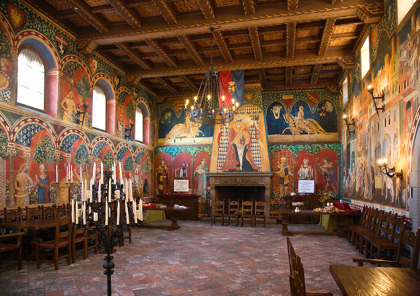 A BANQUET HALL at CASTELLO DI AMAROSA, a WINERY housed by an authentic but recently constructed ITALIAN CASTLE located near CALISTOGA - NAPA VALLEY, CALIFORNIA