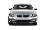 Car photography straight front view of a 2018 BMW 3-Series 330e-iPerformance 4 Door Sedan Front View