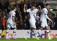 Son Heung-Min of Tottenham Hotspur punches the air to celebrate his second goal during the UEFA Europa League match between Tottenham Hotspur and Qarabag FK at White Hart Lane, London, England on 17 September 2015. Photo by Andy Rowland.