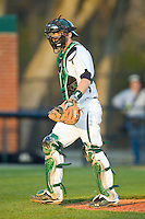 Charlotte 49ers catcher Brett Lang (6) on defense against the Delaware State Hornets at Robert and Mariam Hayes Stadium on February 15, 2013 in Charlotte, North Carolina.  The 49ers defeated the Hornets 13-7.  (Brian Westerholt/Four Seam Images)