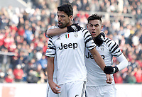 Calcio, Serie A: Sassuolo vs Juventus. Reggio Emilia, Mapei Stadium, 29 gennaio 2017. <br /> Juventus' Sami Khedira, center, celebrates with teammates Miralem Pjanic, partially seen at left, and Paulo Dybala, after scoring during the Italian Serie A football match between Sassuolo and Juventus at Reggio Emilia's Mapei stadium, 29 January 2017.<br /> UPDATE IMAGES PRESS/Isabella Bonotto
