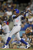 Alfonso Soriano #12 of the Chicago Cubs bats against the Los Angeles Dodgers at Dodger Stadium in Los Angeles, California on May 3, 2011. Photo by Larry Goren/Four Seam Images