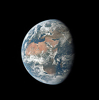 Earth as seen from Apollo XI in the middle of Apollo XI's three-day translunar coast on 17 July 1969.