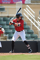 Tate Blackman (20) of the Kannapolis Intimidators at bat against the Greensboro Grasshoppers at Kannapolis Intimidators Stadium on August 5, 2018 in Kannapolis, North Carolina. The Grasshoppers defeated the Intimidators 2-1 in game one of a double-header.  (Brian Westerholt/Four Seam Images)