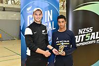Golden Boot trophy winner, Angus Prinsloo of Upper Hutt College, Futsal NZ Secondary Schools Senior Boys Final between Wellington College and Tauranga Boys' College at ASB Sports Centre, Wellington on 26 March 2021.<br /> Copyright photo: Masanori Udagawa /  www.photosport.nz
