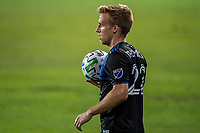 SAN JOSE, CA - OCTOBER 18: Tommy Thompson #22 of the San Jose Earthquakes prepares for a throw in during a game between Seattle Sounders FC and San Jose Earthquakes at Earthquakes Stadium on October 18, 2020 in San Jose, California.