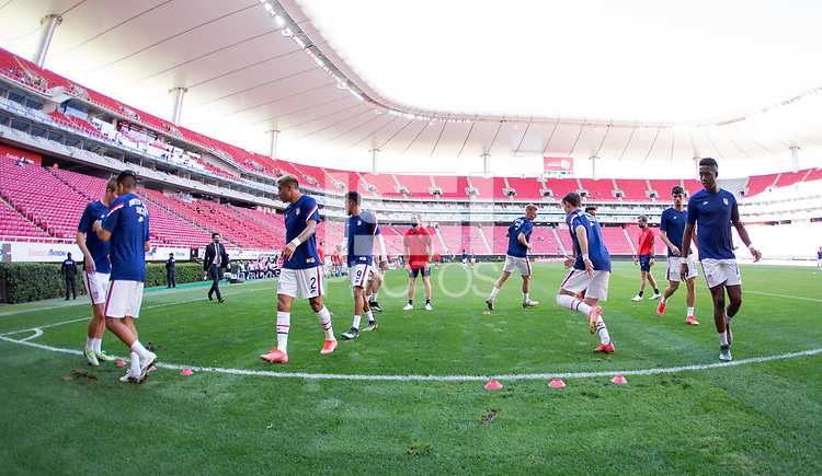 ZAPOPAN, MEXICO - MARCH 21: The United States warming up before a game between Dominican Republic and USMNT U-23 at Estadio Akron on March 21, 2021 in Zapopan, Mexico.