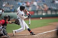 Auburn Tigers shortstop Will Holland (17) swings the bat during Game 7 of the NCAA College World Series against the Louisville Cardinals on June 18, 2019 at TD Ameritrade Park in Omaha, Nebraska. Louisville defeated Auburn 5-3. (Andrew Woolley/Four Seam Images)
