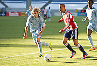 CARSON, CA - April 1, 2012: Chance Myers (7) of KC and Ryan Smith (22) of Chivas during the Chivas USA vs Sporting KC match at the Home Depot Center in Carson, California. Final score Sporting KC 1, Chivas USA 0.