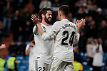 Real Madrid's Francisco Alarcon 'Isco' (L) and Dani Ceballos (R) celebrate goal during La Liga match between Real Madrid and SD Huesca at Santiago Bernabeu Stadium in Madrid, Spain. March 31, 2019. (ALTERPHOTOS/A. Perez Meca)