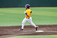 LSU Tigers designated hitter Cade Beloso (24) rounds the bases after hitting a home run against the Tennessee Volunteers on Robert M. Lindsay Field at Lindsey Nelson Stadium on March 28, 2021, in Knoxville, Tennessee. (Danny Parker/Four Seam Images)