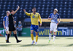 Kilmarnock v St Johnstone……15.08.20   Rugby Park  SPFL<br />Ross Millen is sent off by ref Andrew Dallas<br />Picture by Graeme Hart.<br />Copyright Perthshire Picture Agency<br />Tel: 01738 623350  Mobile: 07990 594431