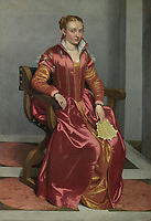 Full title: Portrait of a Lady ('La Dama in Rosso')<br /> Artist: Giovanni Battista Moroni<br /> Date made: about 1556-60<br /> Source: http://www.nationalgalleryimages.co.uk/<br /> Contact: picture.library@nationalgallery.co.uk<br /> <br /> Copyright © The National Gallery, London