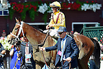 SARATOGA SPRINGS - AUGUST 27: Cavorting #5, ridden by Javier Castellano, in the winner's circle after winning the Personal Ensign Stakes on Travers Stakes Day at Saratoga Race Course on August 27, 2016 in Saratoga Springs, New York. (Photo by Scott Serio/Eclipse Sportswire/Getty Images)