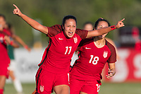 Bradenton, FL - Sunday, June 12, 2018: Maya Doms, goal celebration, Sunshine Fontes during a U-17 Women's Championship Finals match between USA and Mexico at IMG Academy.  USA defeated Mexico 3-2 to win the championship.