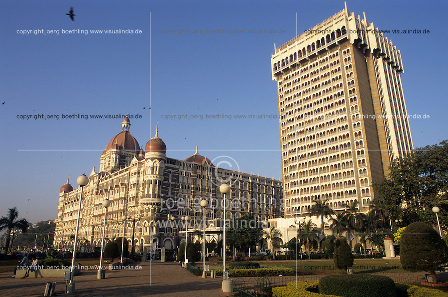 "S?dasien Asien Indien IND Mumbai , Hotel Taj Mahal and Tower der TAJ Group of Hotels des Mischkonzern TATA -  Tourismus xagndaz | .South Asia India Mumbai , Taj Mahal Hotel at Colaba -  tourism .| [ copyright (c) Joerg Boethling / agenda , Veroeffentlichung nur gegen Honorar und Belegexemplar an / publication only with royalties and copy to:  agenda PG   Rothestr. 66   Germany D-22765 Hamburg   ph. ++49 40 391 907 14   e-mail: boethling@agenda-fototext.de   www.agenda-fototext.de   Bank: Hamburger Sparkasse  BLZ 200 505 50  Kto. 1281 120 178   IBAN: DE96 2005 0550 1281 1201 78   BIC: ""HASPDEHH"" ,  WEITERE MOTIVE ZU DIESEM THEMA SIND VORHANDEN!! MORE PICTURES ON THIS SUBJECT AVAILABLE!! INDIA PHOTO ARCHIVE: http://www.visualindia.net ] [#0,26,121#]"