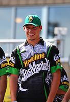 Jul 24, 2016; Morrison, CO, USA; NHRA pro stock driver Alex Laughlin during the Mile High Nationals at Bandimere Speedway. Mandatory Credit: Mark J. Rebilas-USA TODAY Sports