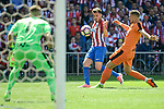 Atletico de Madrid's Saúl Ñígez and SD Eibar's Yoel Rodriguez and Florian Lejeune during Liga Liga match between Atletico de Madrid and SD Eibar at Vicente Calderon Stadium in Madrid, May 06, 2017. Spain.<br /> (ALTERPHOTOS/BorjaB.Hojas)