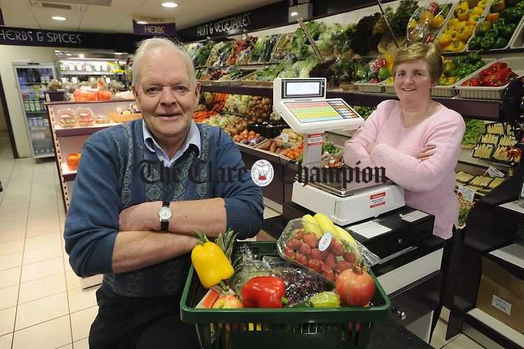 Joan and Tom O Connor in their fruit and Veg shop in Ennis. Photograph by John Kelly.