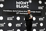 """December 21, 2016, Tokyo, Japan - Japanese composer Ryuichi Sakamoto, a member of the Yellow Magic Orchestra (YMO) displays a special fountain pen after he rececived Montblanc de la Culture Arts Patronage Award in Tokyo on Wednesday, December 21, 2016. Sakamoto played his screen music """"Merry Christmas Mr. Lawrence"""" with young musicians.  (Photo by Yoshio Tsunoda/AFLO) LWX -ytd-"""