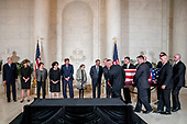 From left, retired Associate Justice Anthony Kennedy, Ashley Kavanaugh, the wife of Associate Justice Brett Kavanaugh, Associate Justice Elena Kagan, Associate Justice Sonia Sotomayor, Associate Justice Samuel Alito, Associate Justice Ruth Bader Ginsburg, and Chief Justice John Roberts watch as the casket of late Supreme Court Justice John Paul Stevens is carried into the Great Hall of the Supreme Court in Washington, Monday, July 22, 2019. <br /> Credit: Andrew Harnik / Pool via CNP