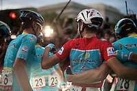 Red jersey Fabio Aru (ITA/Astana) & teammates celebrating the Vuelta win just after the finish line in Madrid<br /> <br /> stage 21: Alcala de Henares - Madrid (98km)<br /> 2015 Vuelta à Espana