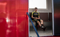 Mikel Nieve (ESP/Mitchelton-Scott) waiting inside the doping controle bus for 'nature to do it's job'...<br /> <br /> stage 10 (ITT): Jurançon to Pau (36.2km > in FRANCE)<br /> La Vuelta 2019<br /> <br /> ©kramon