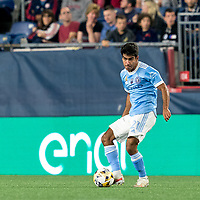 FOXBOROUGH, MA - SEPTEMBER 11: Andres Jasson #21 of New York City FC passes the ball during a game between New York City FC and New England Revolution at Gillette Stadium on September 11, 2021 in Foxborough, Massachusetts.