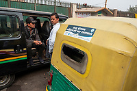Auto-rickshaw drivers wait for customers outside Jama Masjid near Meena Bazar in the Chadni Chowk area of Delhi, India, on Tue., Dec. 11, 2018. Jama Masjid is also known as Masjid-i Jehan Numa; it is one of the largest mosques in India, built between 1650 and 1656.