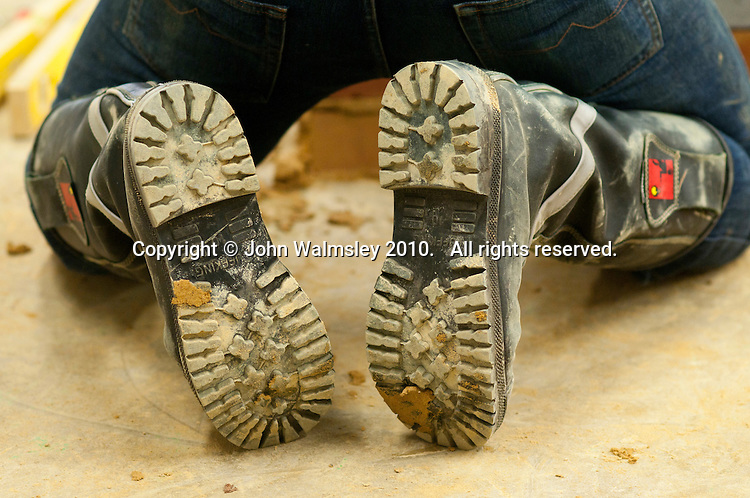 Steel toe-capped boots must be worn on building sites.  Able Skills in Dartford, Kent, runs courses in construction industry skills like, bricklaying, carpentry and tiling.