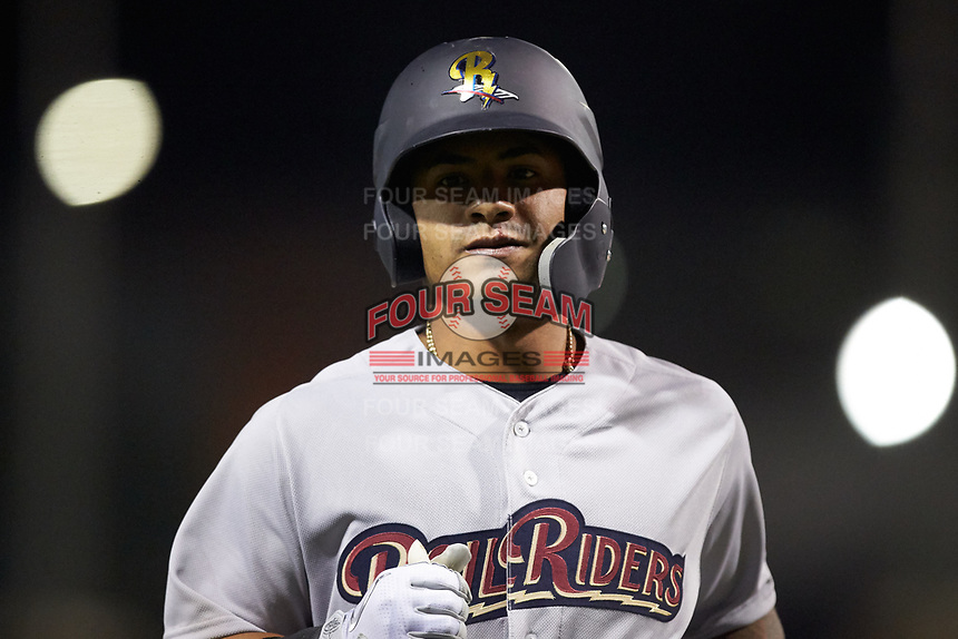Gleyber Torres (7) of the Scranton/Wilkes-Barre RailRiders jogs off the field during the game against the Charlotte Knights at BB&T BallPark on April 12, 2018 in Charlotte, North Carolina.  The RailRiders defeated the Knights 11-1.  (Brian Westerholt/Four Seam Images)