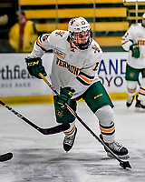 29 December 2018: University of Vermont Catamount Defenseman Corey Moriarty, a Junior from Estero, FL, in first period action against the Rensselaer Engineers at Gutterson Fieldhouse in Burlington, Vermont. The Catamounts rallied from a 2-0 deficit to defeat RPI 4-2 and win the annual Catamount Cup Tournament. Mandatory Credit: Ed Wolfstein Photo *** RAW (NEF) Image File Available ***