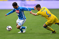 Amin Younes of Napoli and Paolo Ghiglione of Frosinone compete for the ball during the Serie A 2018/2019 football match between Frosinone and SSC Napoli at stadio Benito Stirpe, Frosinone, April 28, 2019 <br /> Photo Andrea Staccioli / Insidefoto