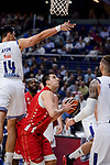 Real Madrid's Gustavo Ayon and Crvena Zvezda Mts Belgrade's Milko Bjelicaduring Turkish Airlines Euroleague match between Real Madrid and Crvena Zvezda Mts Belgrade at Wizink Center in Madrid, Spain. March 10, 2017. (ALTERPHOTOS/BorjaB.Hojas)
