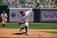 Northwest Arkansas Naturals Estarlin Cordero (57) throws during the game against the Springfield Cardinals at Arvest Ballpark on May 4, 2016 in Springdale, Arkansas.  Springfield won 10-6.  (Dennis Hubbard/Four Seam Images)
