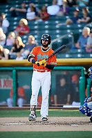 Kaleb Cowart (22) of the Salt Lake Bees bats against the Las Vegas 51s at Smith's Ballpark on May 7, 2018 in Salt Lake City, Utah. The 51s defeated the Bees 10-8. (Stephen Smith/Four Seam Images)