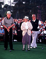 8th April 1999; Augusta GA, USA; Gene Sarazen with Byron Nelson and Sam Snead during the Masters 1999 in Augusta