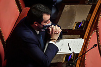 The secretary of Lega party Mattei Salvini during the Italian Premier's  information at the Senate about the government crisis..<br /> Rome(Italy), January 19th 2021<br /> Photo Pool Alessandro Di Meo/Insidefoto