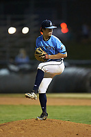 Dry Pond Blue Sox pitcher Jake Poris (15) (Mooresville HS) in action against the Mooresville Spinners at Moor Park on July 2, 2020 in Mooresville, NC.  The Spinners defeated the Blue Sox 9-4. (Brian Westerholt/Four Seam Images)