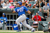 Kansas City Royals designated hitter Melky Cabrera #27 at bat during a game against the Chicago White Sox at U.S. Cellular Field on August 14, 2011 in Chicago, Illinois.  Chicago defeated Kansas City 6-2.  (Mike Janes/Four Seam Images)