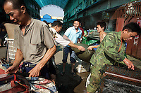 Yueyang fish market near Dongting Lake, Hunan Province. Dongting Lake has decreased in size in recent decades as a result of land reclamation and damming of the Yangtze. China. 2010