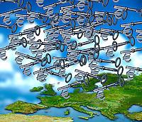 Lots of Euro keys raining down over Europe