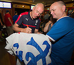 Rangers manager Mark Warburton welcomes supporters from North America as the team has a meet and greet in the three lions bar at the MUSC Health Stadium in Charleston, South Carolina