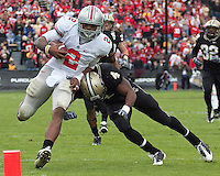 Purdue safety Dwight McLean tackles Ohio State quarterback Terrelle Pryor short of the endzone. The Purdue Boilermakers defeated the Ohio State Buckeyes 26-18 at Ross-Ade Stadium, West Lafayette, Indiana on October 17, 2009..